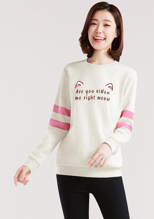 可愛貓耳印花刷毛T恤