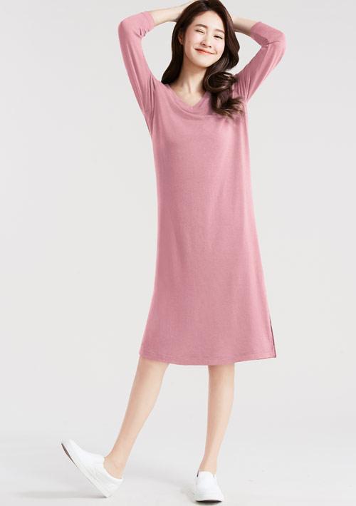 特級四面彈性長袖洋裝