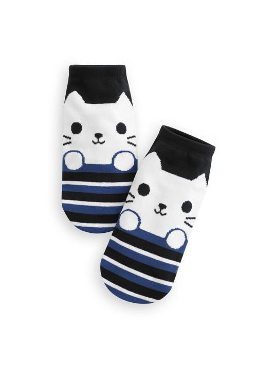 貓咪配色條紋短襪