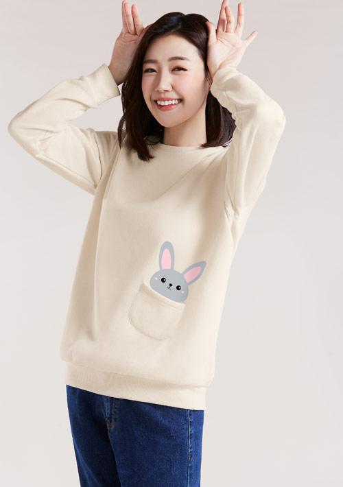 口袋邦妮兔印花刷毛T恤