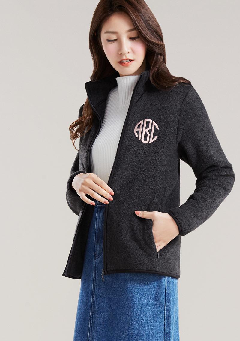 字母電繡Fleece保暖外套