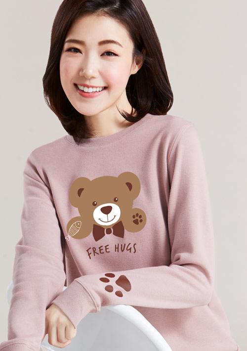 抱抱泰迪熊印花刷毛T恤