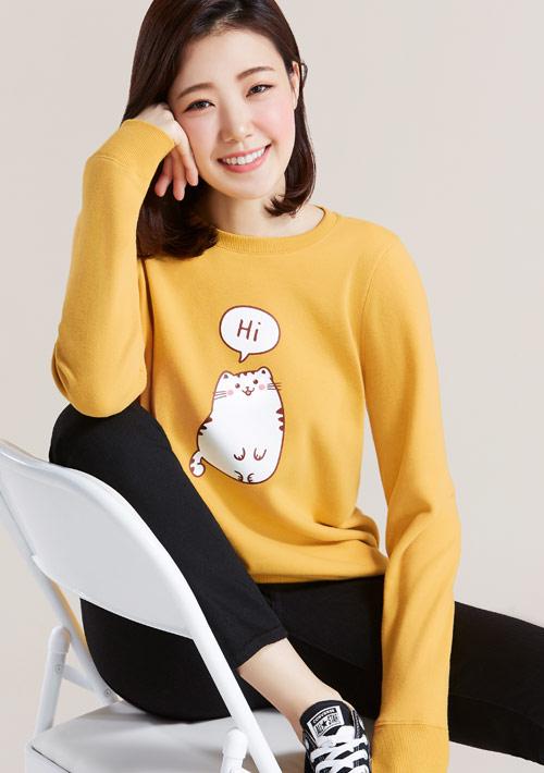 Hi 胖胖貓印花刷毛T恤