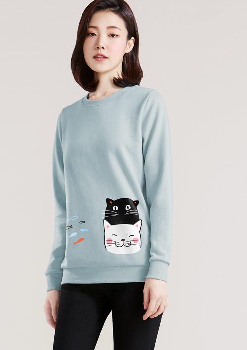 貓和魚印花刷毛T恤
