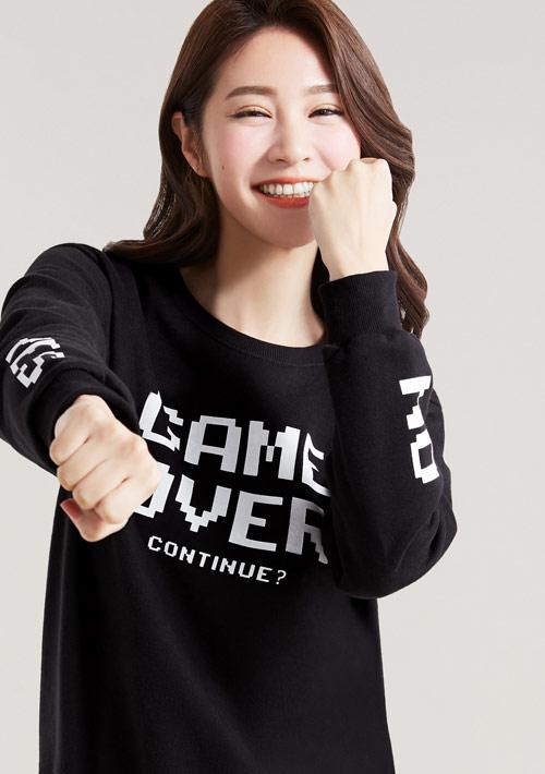 電玩遊戲字母印花刷毛T恤