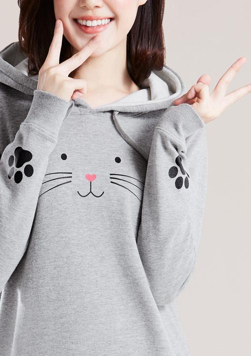 萌貓印花刷毛連帽長版T恤