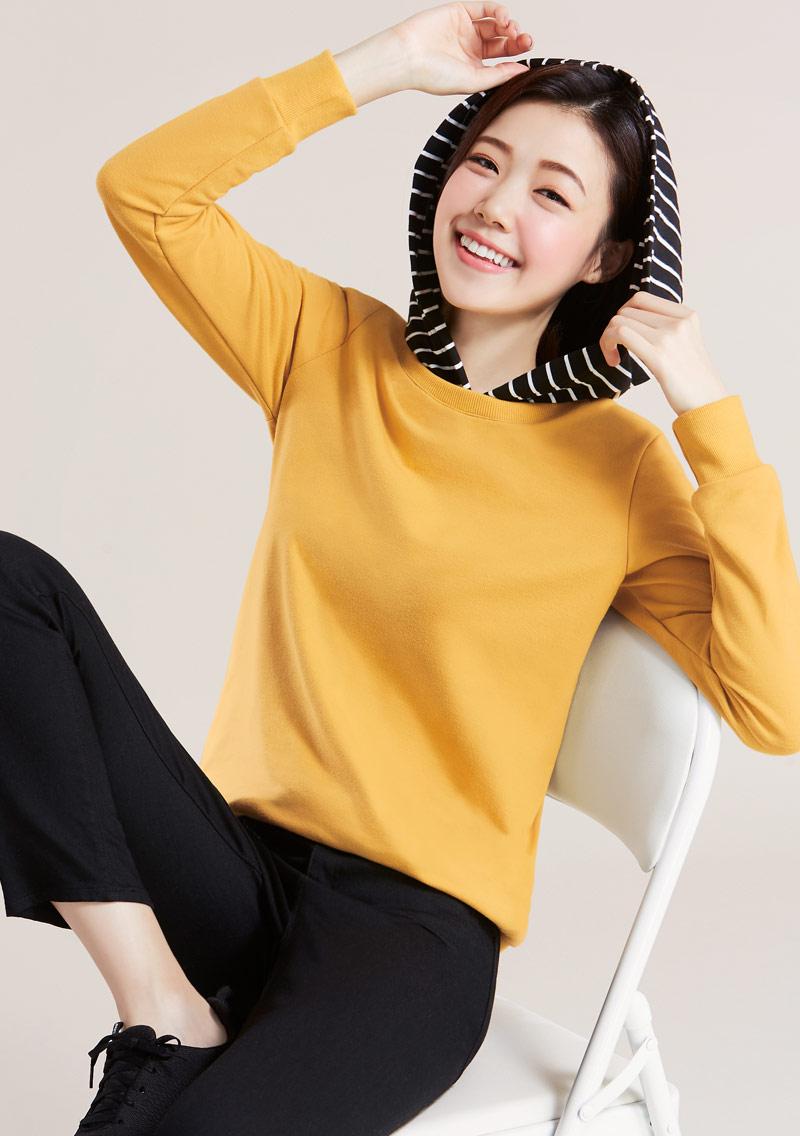 條紋連帽毛圈上衣