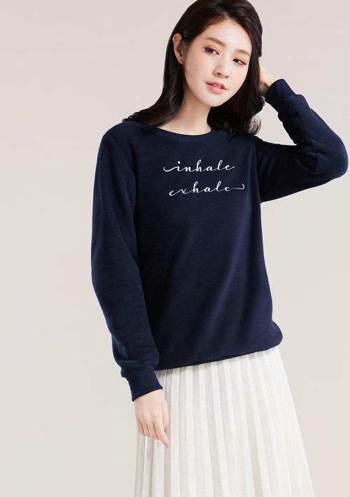 Fleece毛絨草寫字母電繡圓領衫