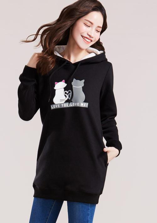 情侶貓印花刷毛連帽長版T恤