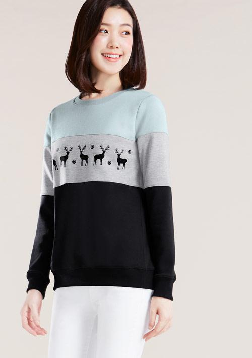 鹿兒印花撞色刷毛T恤