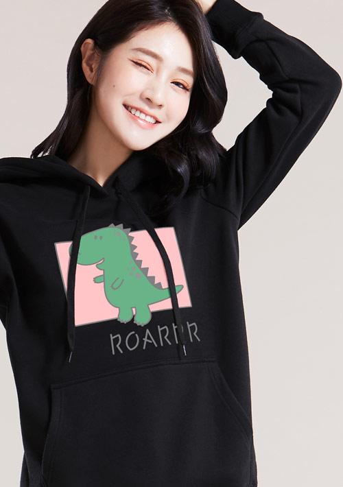 小恐龍印花刷毛連帽T恤