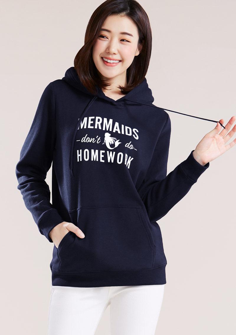 【限時$168】美人魚印花刷毛連帽T恤