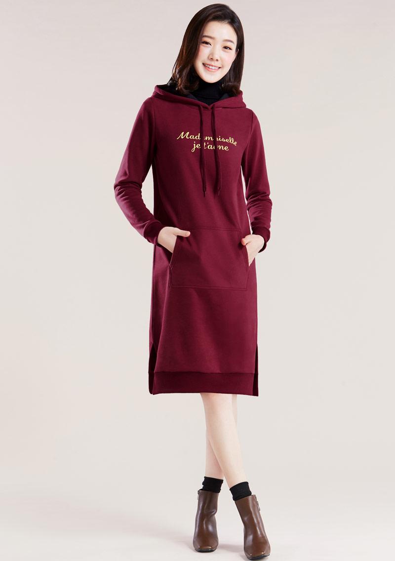 字母刷毛連帽側開衩長版洋裝