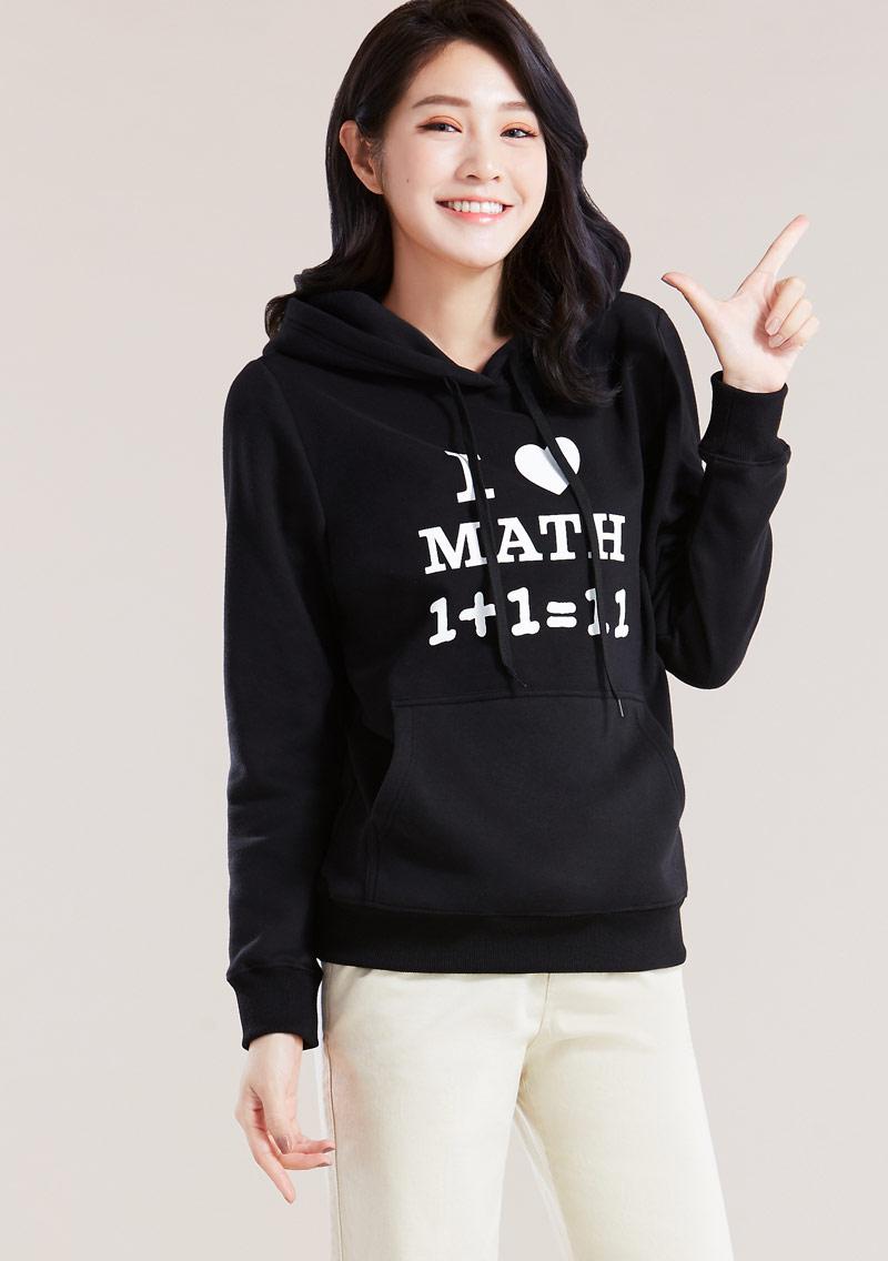 字母印花刷毛連帽T恤