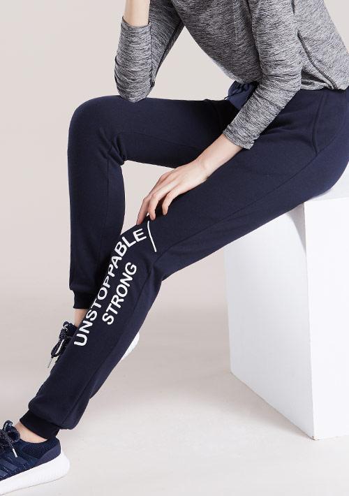 運動口號刷毛束口褲