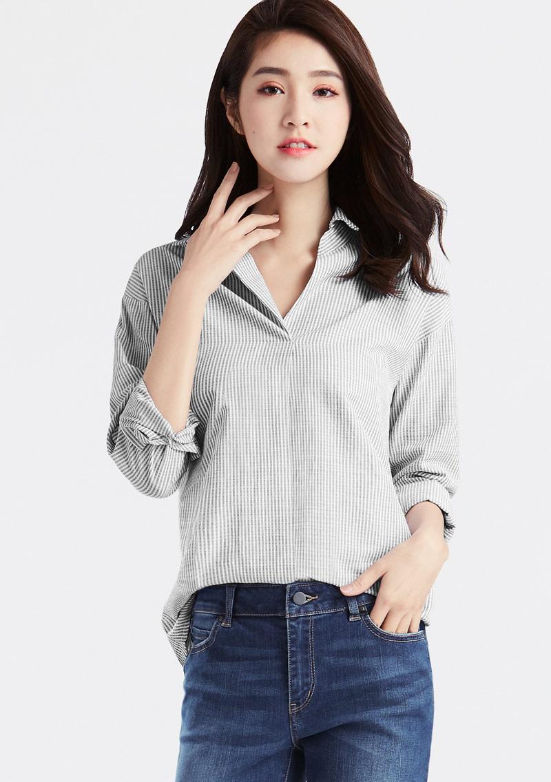 寬版條紋襯衫