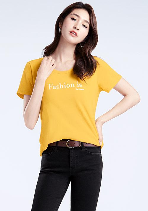 Slogan純棉印花T恤