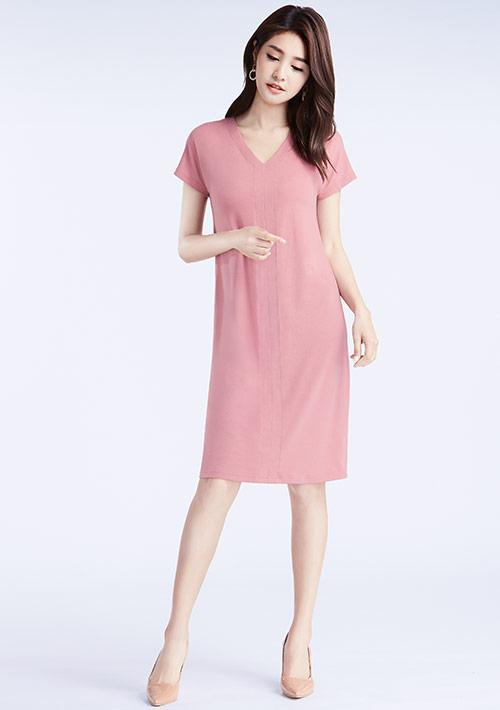 特級四面彈性V領洋裝