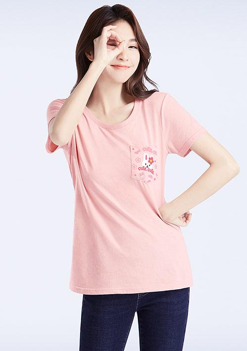 兔子純棉口袋印花T恤
