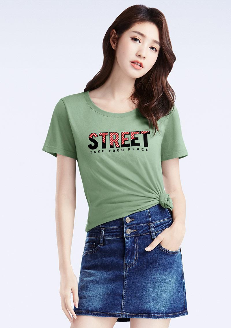 創意字母純棉印花T恤