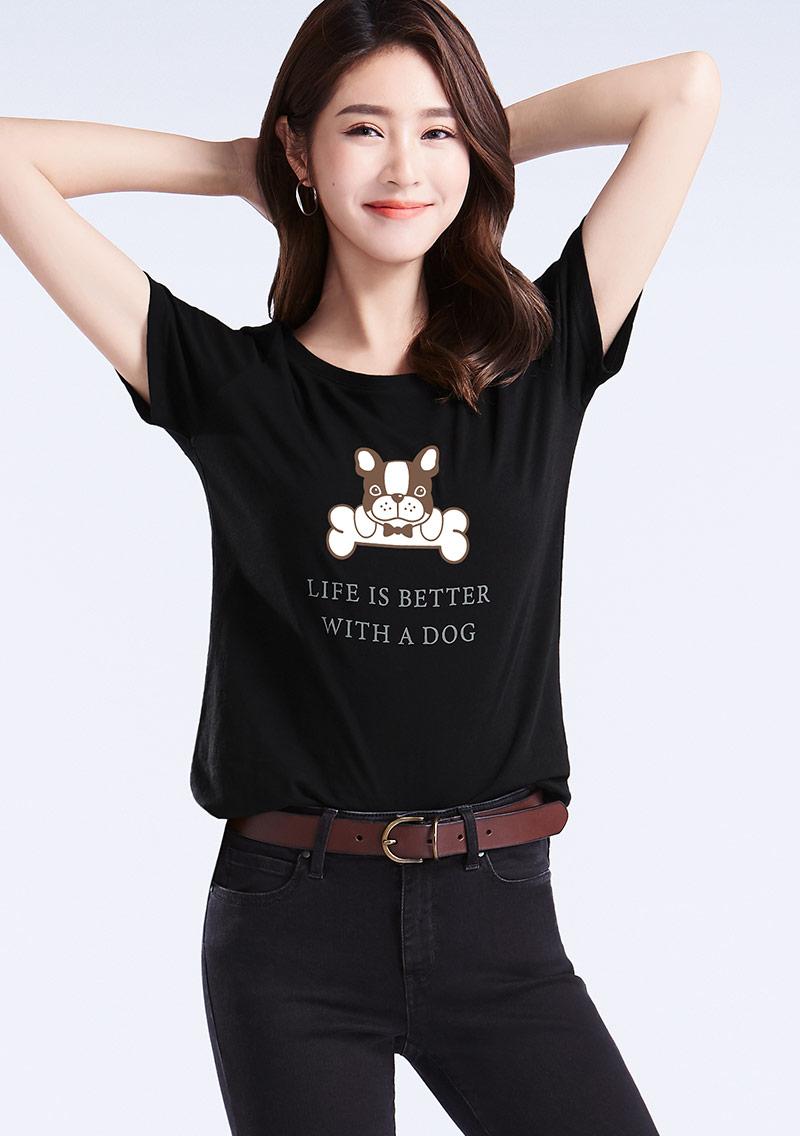 法鬥犬純棉印花T恤