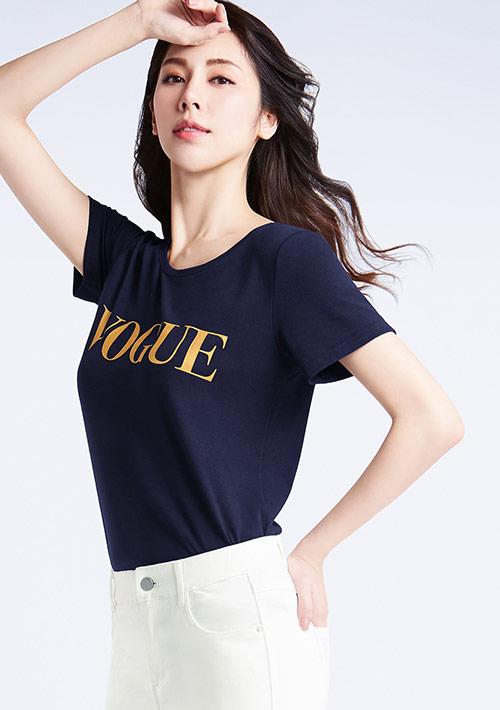 特級四面彈性字母印花圓領T恤