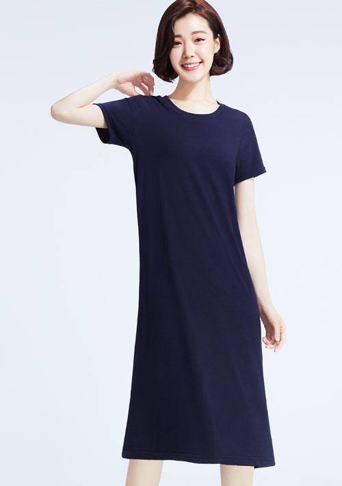 特級四面彈性圓領長版洋裝
