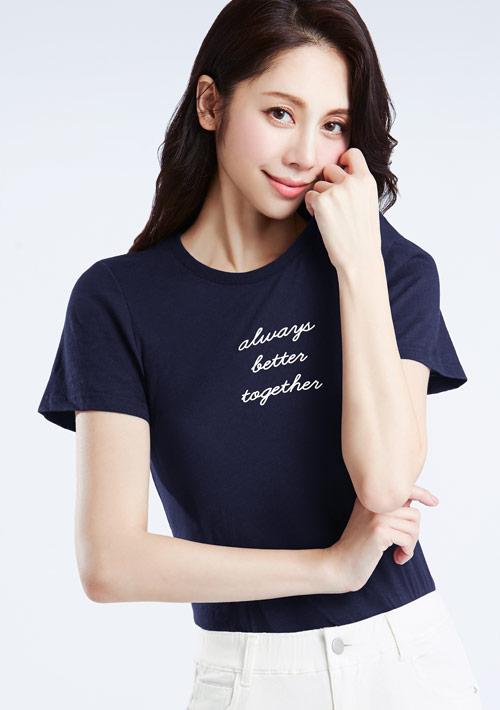 文字竹節棉印花T恤