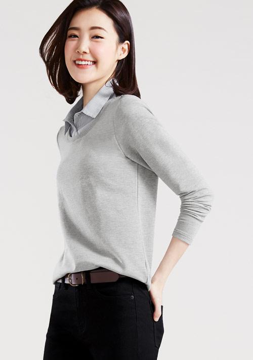 襯衫領毛圈上衣