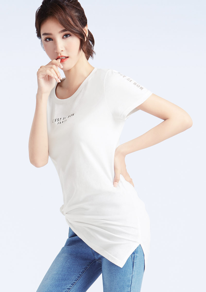 法文字母純棉長版印花T恤