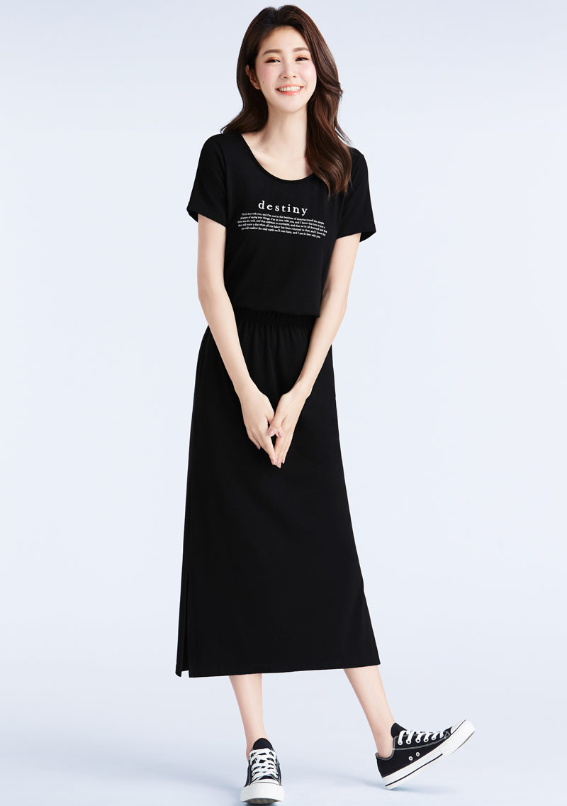 特級四面彈性字母印花裙裝套組