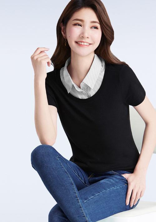 襯衫領純棉上衣
