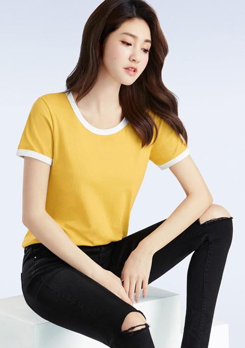 羅紋純棉配色T恤