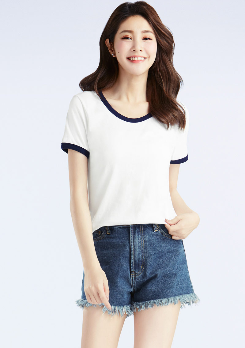 羅紋配色純棉T恤