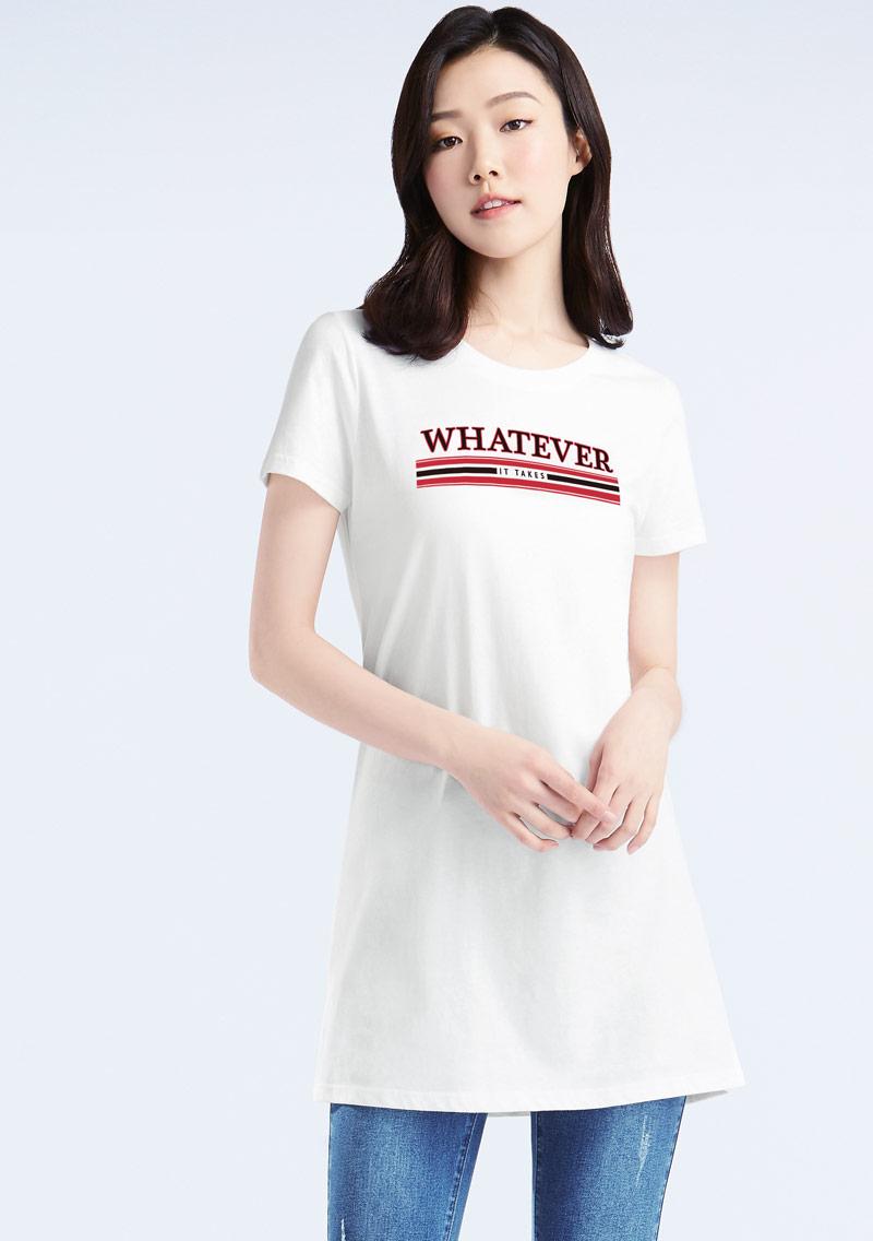 英文字母純棉長版印花T恤