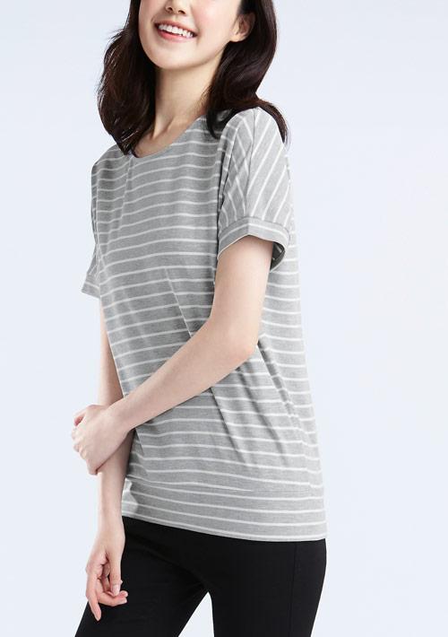 特級四面彈性條紋連袖衫