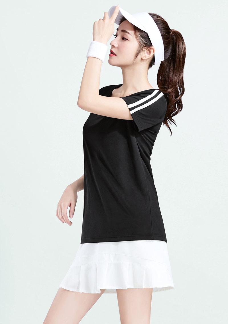 抗UV吸排V領條紋袖上衣