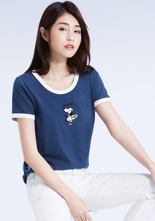 米格魯純棉配色印花T恤