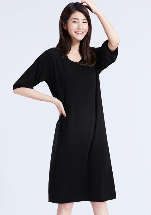 特級四面彈性五分袖洋裝