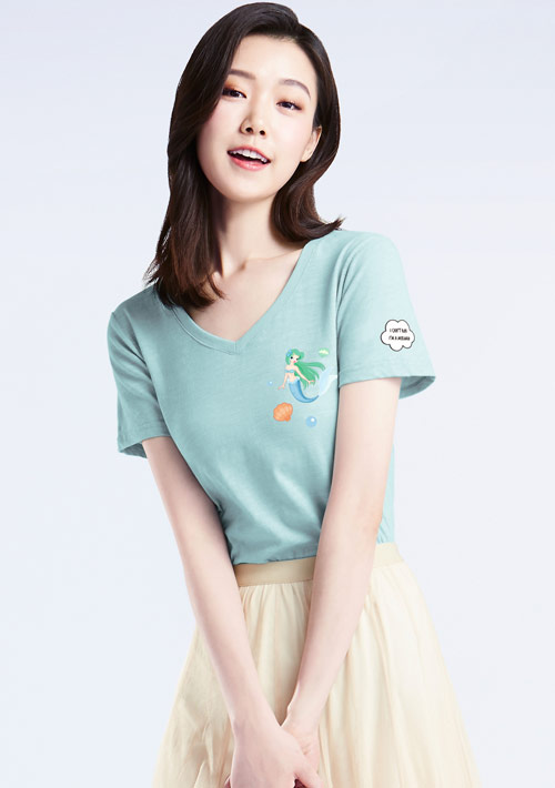 美人魚竹節棉V領印花T恤