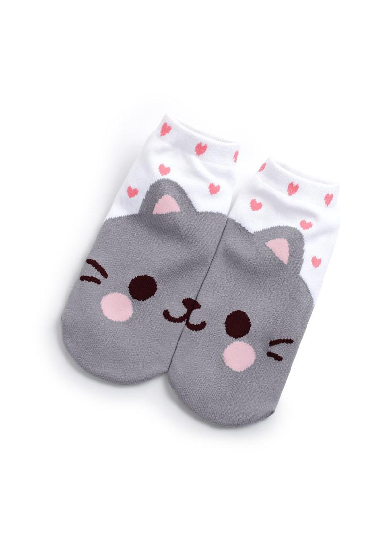 愛心貓咪涼感短襪