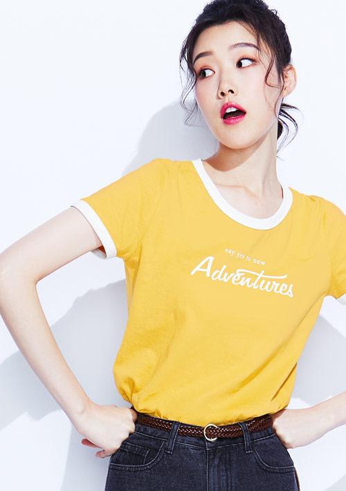 羅紋配色純棉文字印花T恤