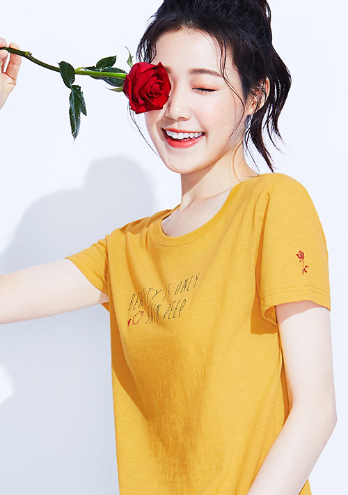迪士尼公主系列竹節棉印花T恤-01