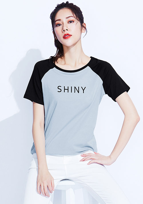 文字印花純棉配色T恤