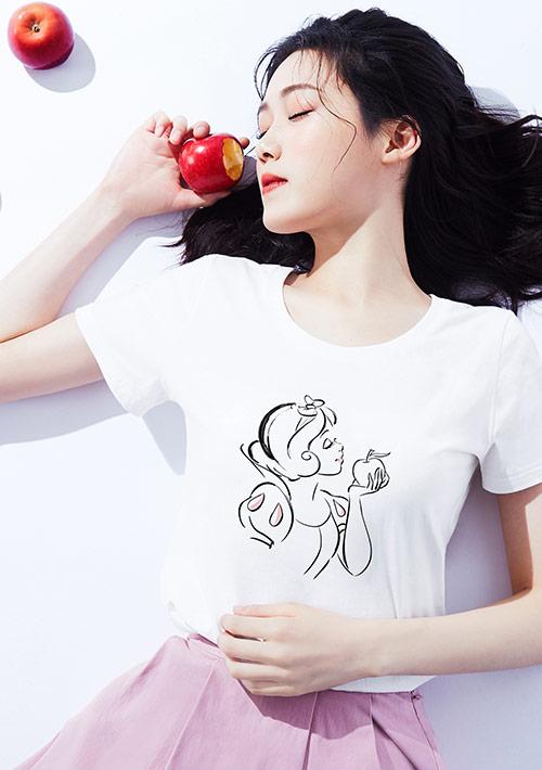 迪士尼公主系列純棉印花T恤-04