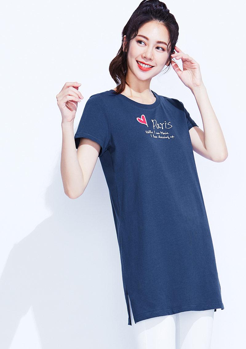 迪士尼Marie系列純棉長版印花T恤-01