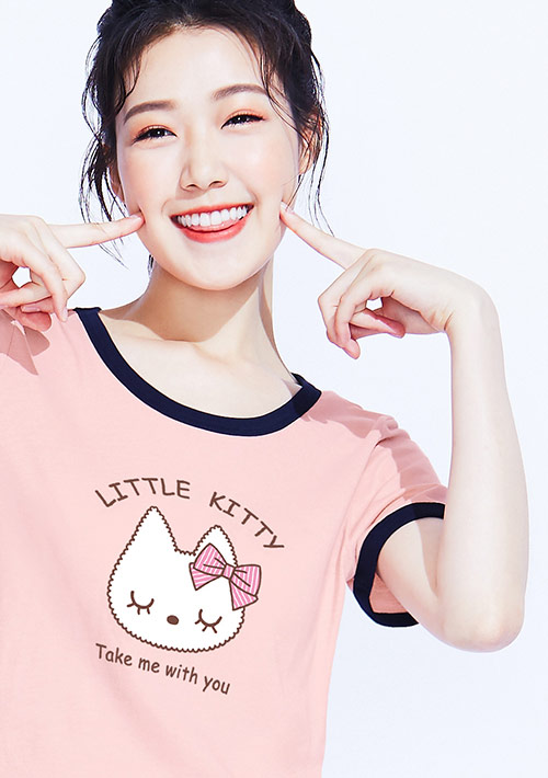 【限48HR$168】貓咪羅紋配色純棉印花T恤