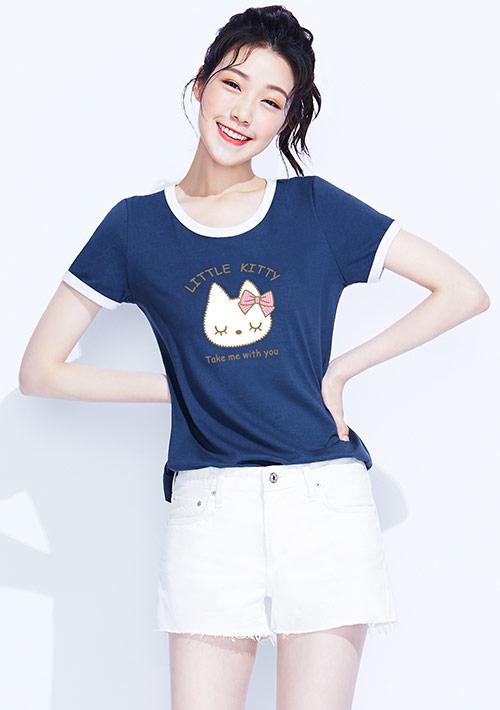 貓咪羅紋配色純棉印花T恤