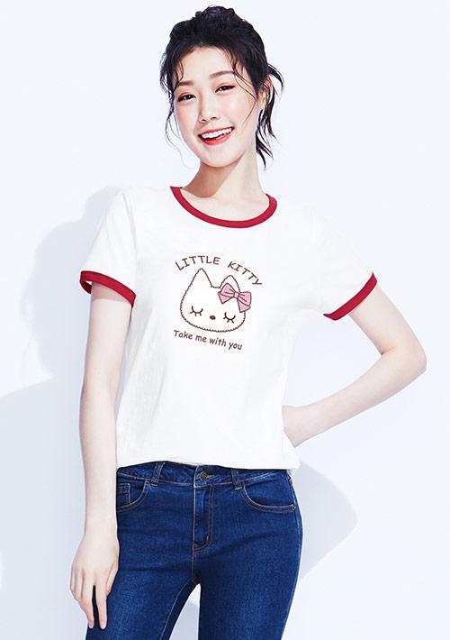 【限時$145】貓咪羅紋配色純棉印花T恤