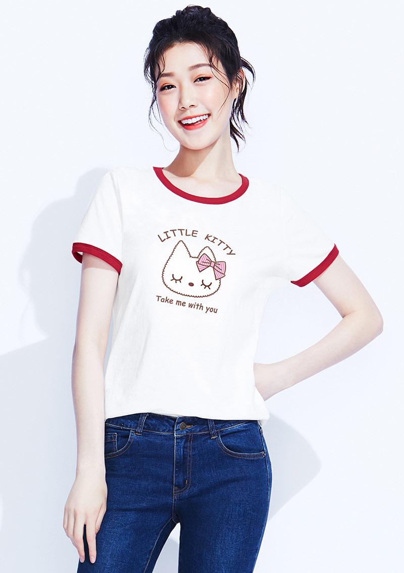 【限時$168】貓咪羅紋配色純棉印花T恤
